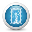 Vector blue glossy icon depicting New York stamp - Stock Vector