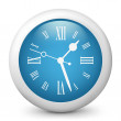 Vector blue glossy icon depicting clock - Stock Vector