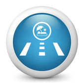 Vector blue glossy icon depicting vacantion road — Stock Vector