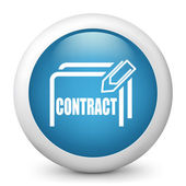 Vector blue glossy icon depicting contract — Stock Vector