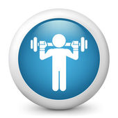 Vector blue glossy icon depicting weightlifting — Stock Vector