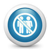 "Vector blue glossy icon depicting ""access forbidden"" for couple — Stock Vector"