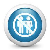 "Vector blue glossy icon depicting ""access forbidden"" for couple — Stock Vector"