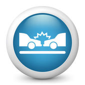 Vector blue glossy icon depicting car accident — Stock Vector