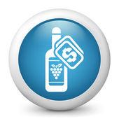 Wektor niebieski ikona przedstawiająca wina butelka — Wektor stockowy