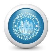 Vector blue glossy icon depicting Prague — Stock Vector