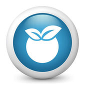 Blue glossy fruit icon — Stock Vector