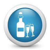 Icône de papier glacé vecteur bleu dépeignant des célébrations — Vecteur