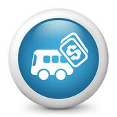 Vector blue glossy icon depicting bus cost — Stock Vector