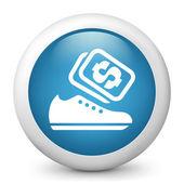Vettore blu lucido icona raffigurante scarpe saldi — Vettoriale Stock