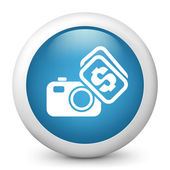 Vector blue glossy icon depicting sale images concept — Stock Vector