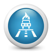 Vector blue glossy icon depicting car in flame — Stock Vector