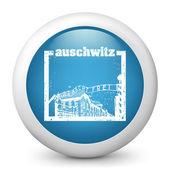 矢量光泽的蓝色图标描绘奥斯威辛集中营邮票 — 图库矢量图片