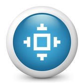 Vector blue glossy icon depicting pixel viewfinder symbol — Stock Vector