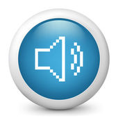 """Vector blue glossy icon depicting """"audio volume"""" in pixel — Stock Vector"""