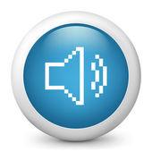 "Vector blue glossy icon depicting ""audio volume"" in pixel — Vector de stock"