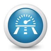 Vector blue glossy icon depicting chronometer — Stock Vector