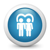 Vector blue glossy icon depicting pair of lovers — Stock Vector