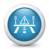 Vector blue glossy icon depicting warning sign — Stock Vector