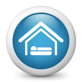Vector blue glossy icon depicting motel — Stock Vector