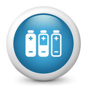 Vector blue glossy icon depicting battery level — Stock Vector