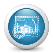 Vector blue glossy icon depicting India stamp — Stock Vector