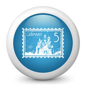 Vector blue glossy icon depicting Germany stamp — Stock Vector