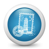 Vector blue glossy icon depicting Italy stamp — Stock Vector