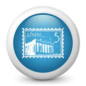 Vector blue glossy icon depicting Athens stamp — Stock Vector