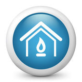 Vector blue glossy icon depicting domestic heating concept — Stock Vector