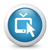 Vector blue glossy tv icon — Stock Vector