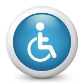 Vector blue glossy icon depicting handicapped — Stock Vector