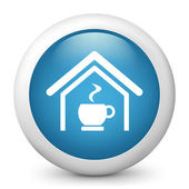 Vector blue glossy icon depicting cup of coffee — Stock Vector