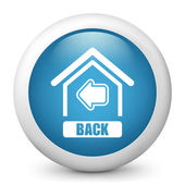 "Vector blue glossy icon depicting button ""back to home"" — Stock Vector"