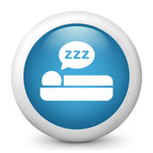 Vector blue glossy icon depicting sleeper — Stock Vector