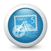 Vector blue glossy icon depicting Mexico stamp — Stock Vector