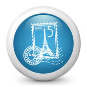 Vector blue glossy icon depicting Paris stamp — Stock Vector