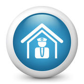 Vector blue glossy icon depicting police — Stock Vector