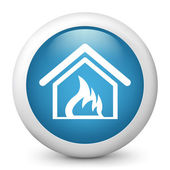 Vector blue glossy icon depicting burning home — Stock Vector