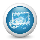 Vector blue glossy icon depicting Roma stamp — Stock Vector