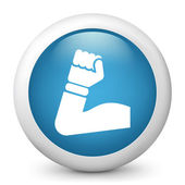 Vector blue glossy icon depicting biceps — Stock Vector