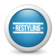 "Vector blue glossy icon depicting ""restyling"" sign — Stock Vector #21990393"