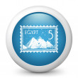 Vector blue glossy icon depicting Egypt stamp - Stock Vector