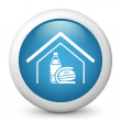 Vector blue glossy icon depicting fast food at home — Stock Vector