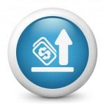 vector blauwe glanzende pictogram van deejay in actie — Stockvector
