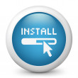 Vector blue glossy icon depicting install — Vector de stock #21991213