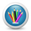 Vector blue glossy icon depicting colorful pencils - Stock Vector