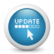 Vector blue glossy icon depicting update — Imagen vectorial