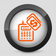 Vector illustration of a gray and orange icon depicting a music mixer - Stock Vector