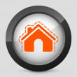 Stock Vector: Vector illustration of a gray and orange icon depicting a house protection